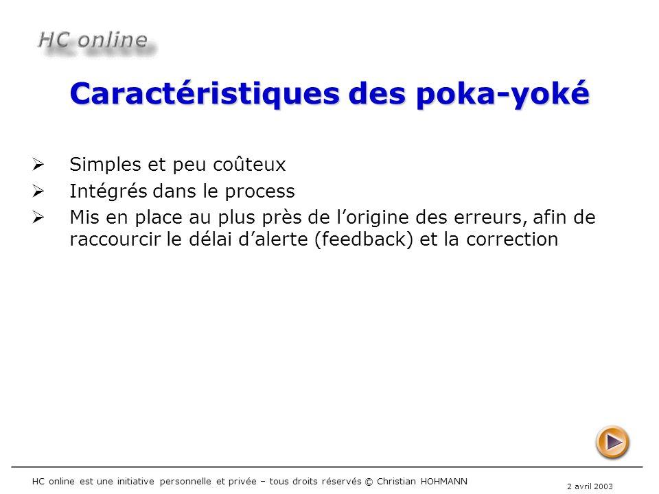 Caractéristiques des poka-yoké