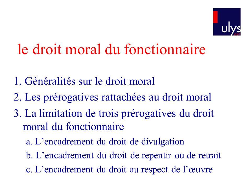 le droit moral du fonctionnaire