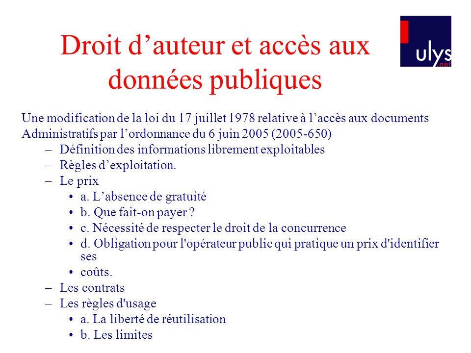 Droit d'auteur et accès aux données publiques