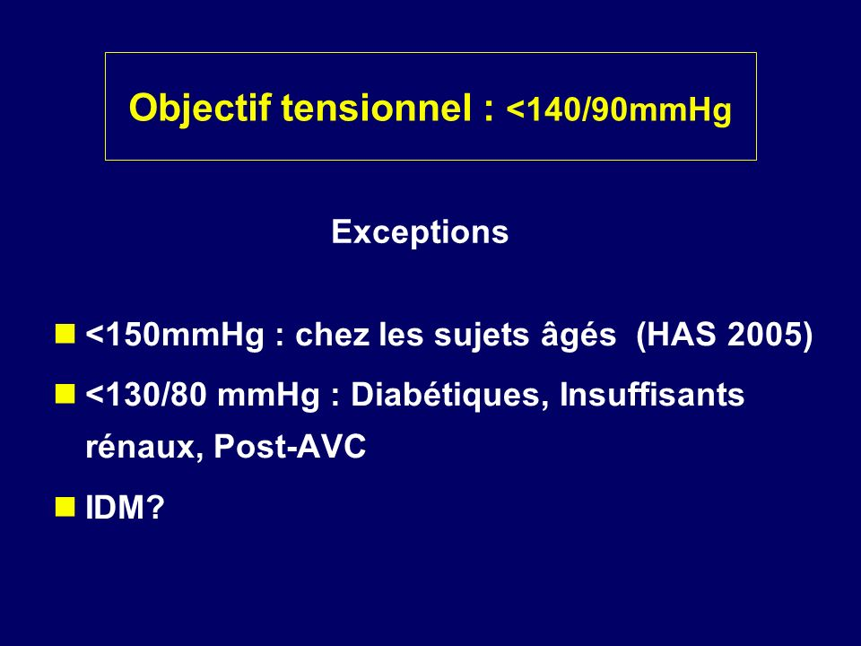 Objectif tensionnel : <140/90mmHg