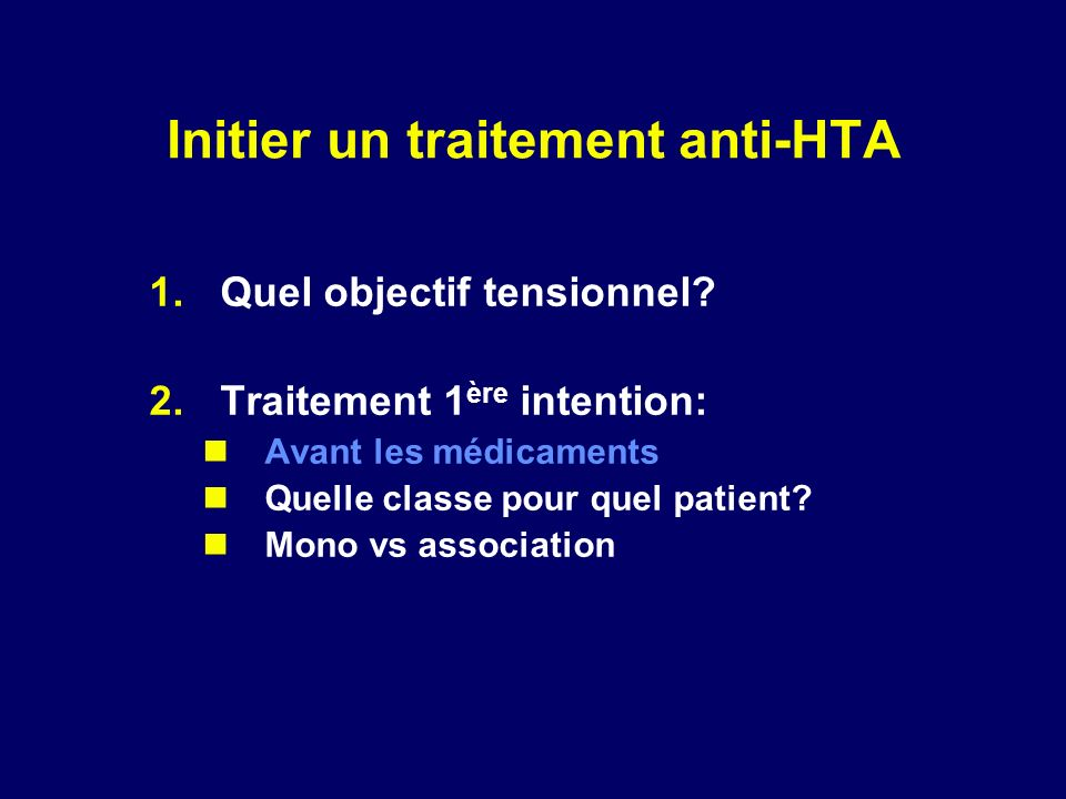 Initier un traitement anti-HTA