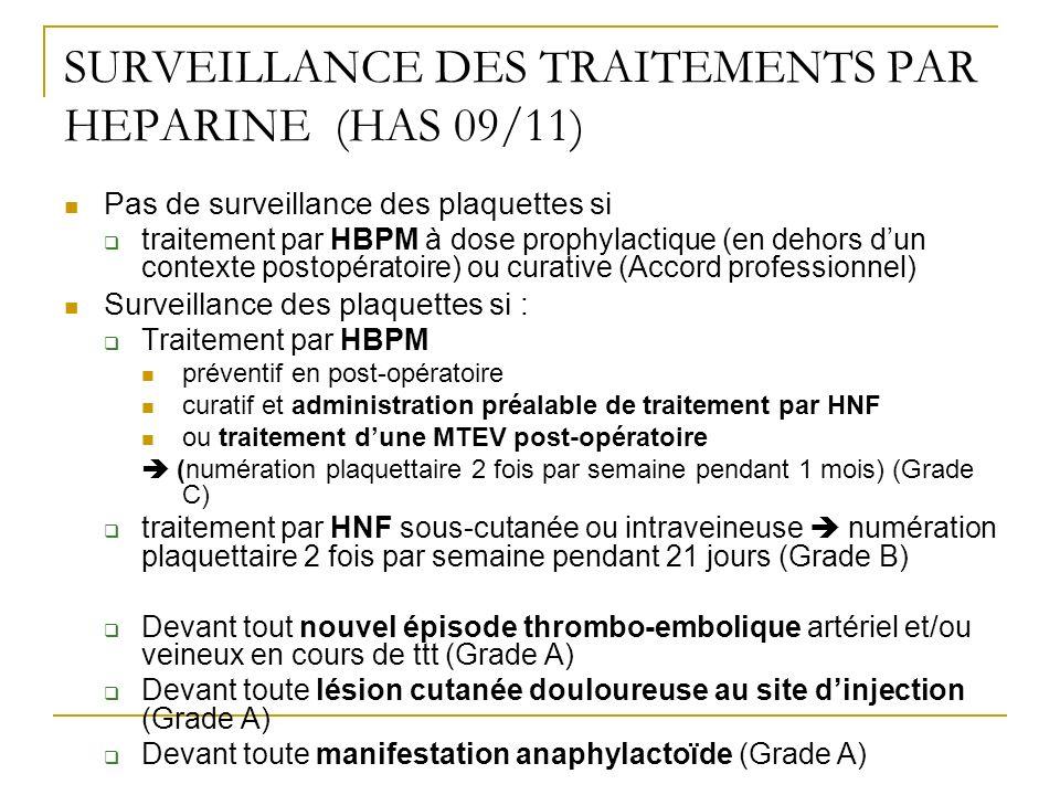 SURVEILLANCE DES TRAITEMENTS PAR HEPARINE (HAS 09/11)