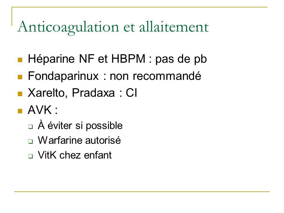 Anticoagulation et allaitement