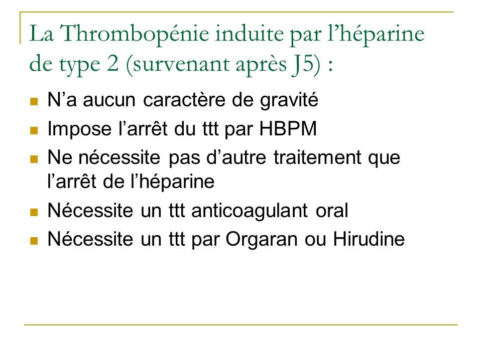 La Thrombopénie induite par l'héparine de type 2 (survenant après J5) :
