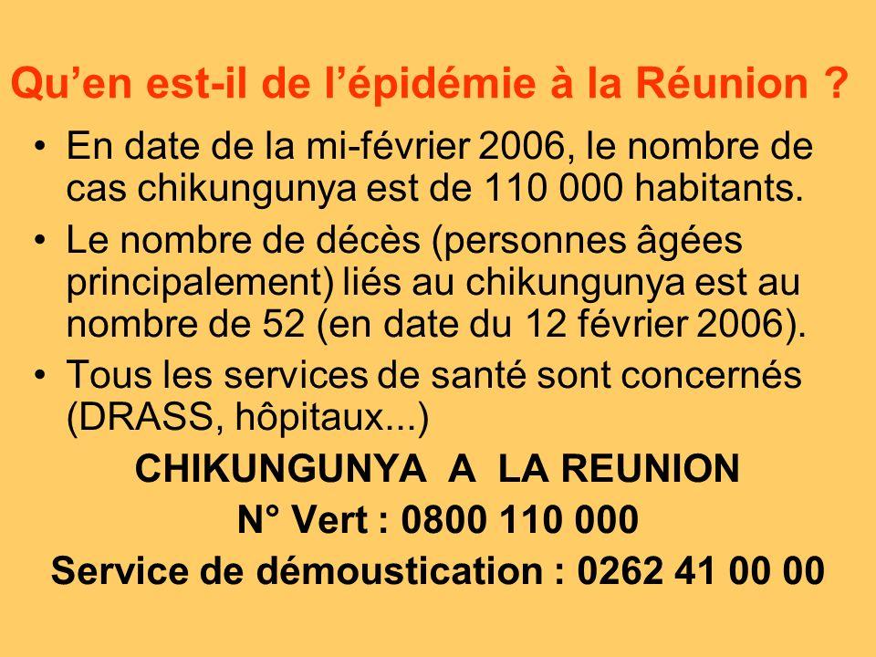 Qu'en est-il de l'épidémie à la Réunion