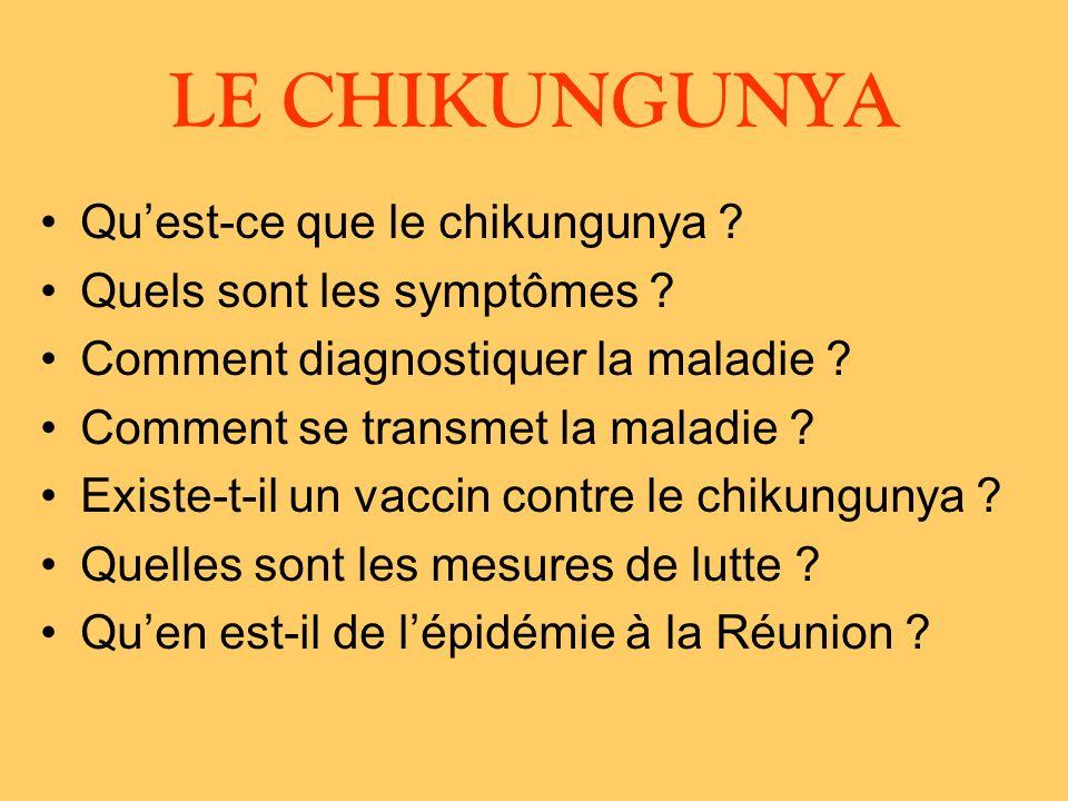 LE CHIKUNGUNYA Qu'est-ce que le chikungunya