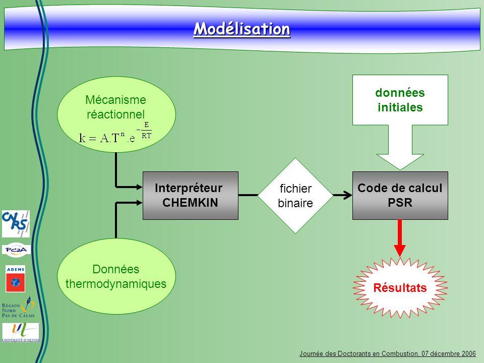 Modélisation Mécanisme réactionnel données initiales fichier binaire