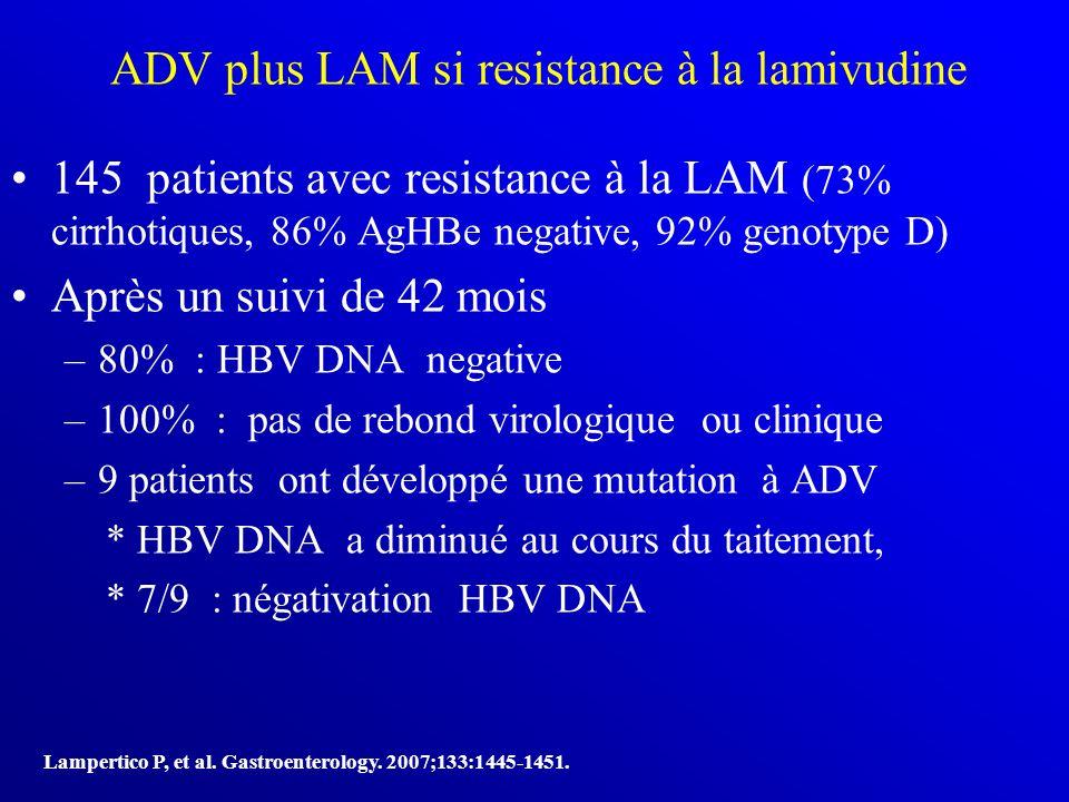 ADV plus LAM si resistance à la lamivudine