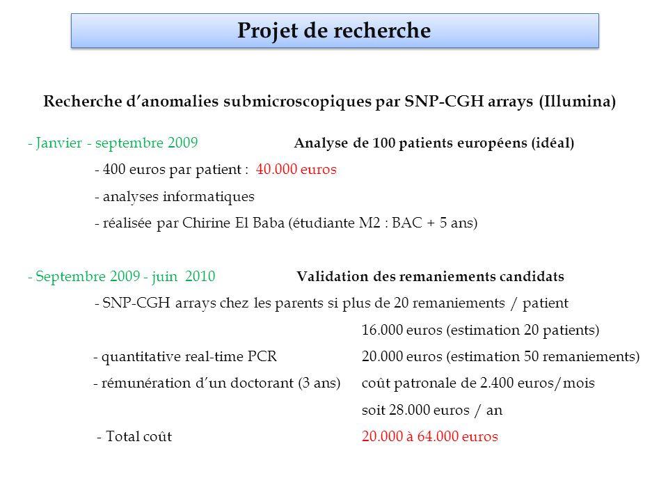 Projet de recherche Recherche d'anomalies submicroscopiques par SNP-CGH arrays (Illumina)