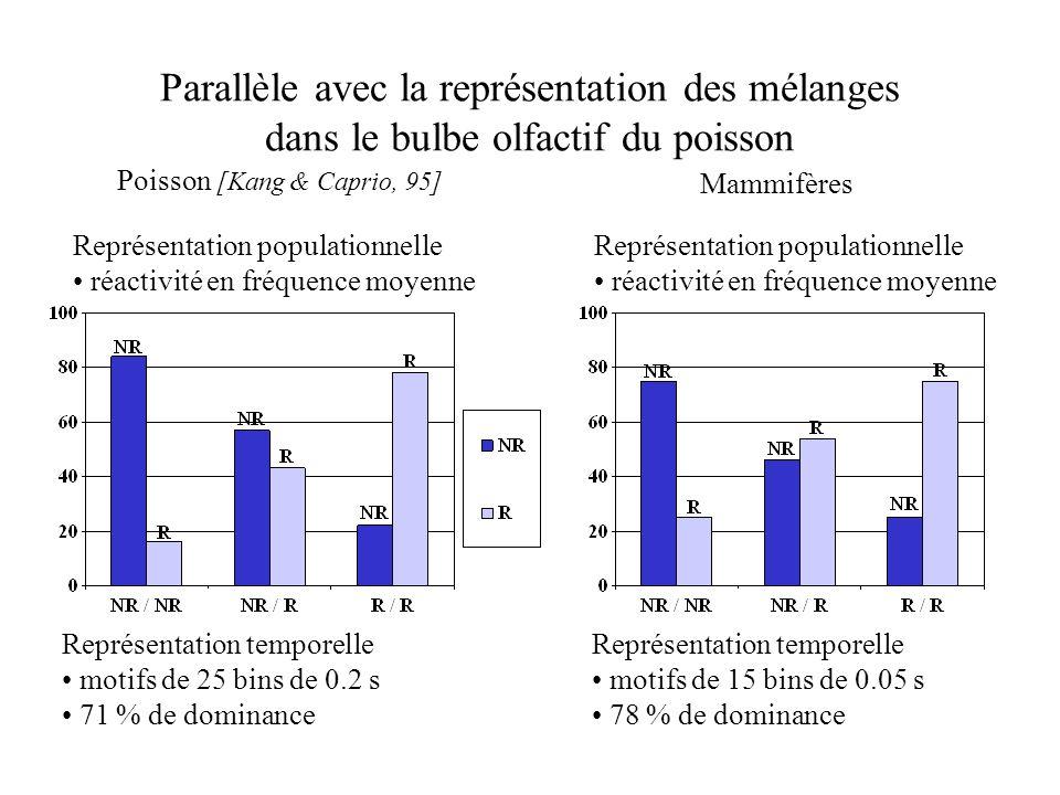 Parallèle avec la représentation des mélanges dans le bulbe olfactif du poisson