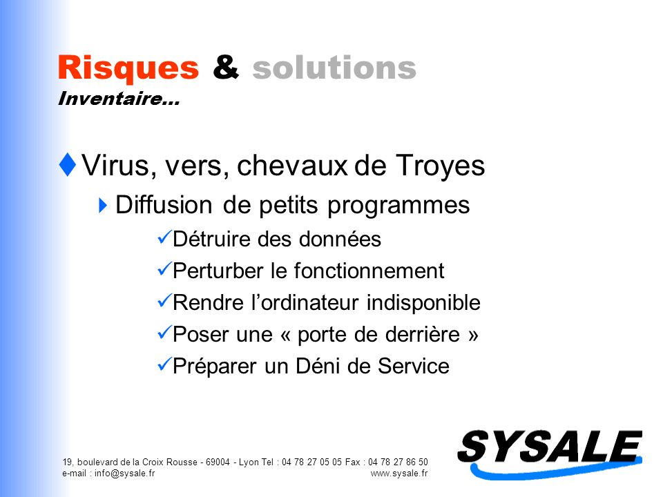Risques & solutions Inventaire…
