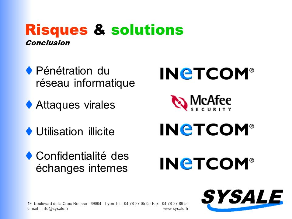 Risques & solutions Conclusion