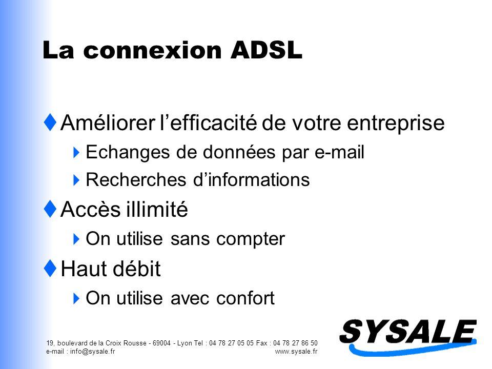 La connexion ADSL Améliorer l'efficacité de votre entreprise