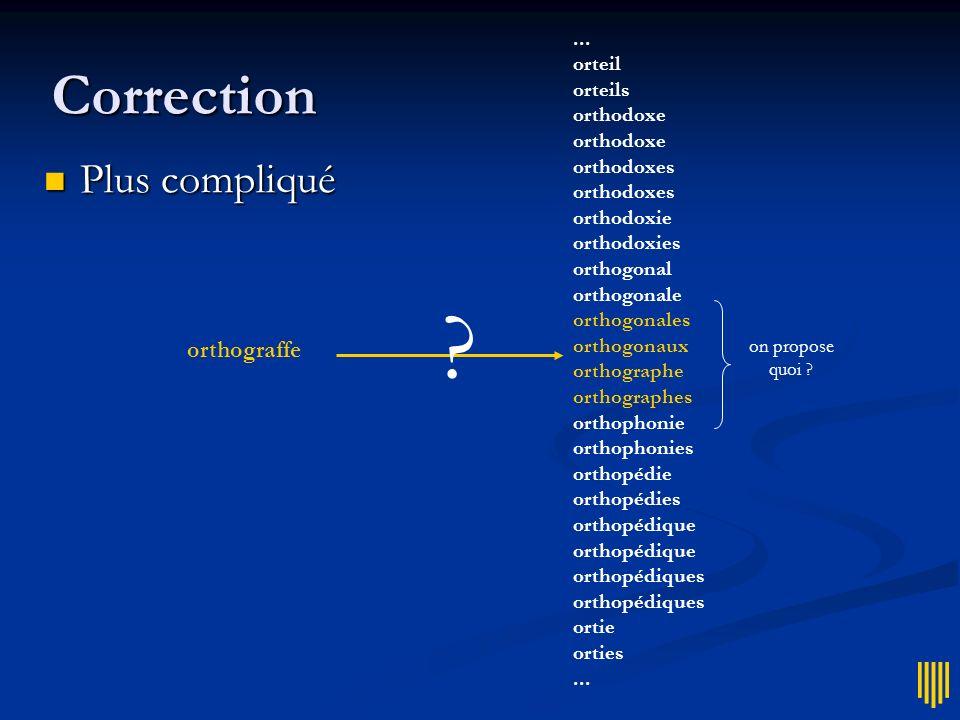 Correction Plus compliqué orthograffe ... orteil orteils orthodoxe
