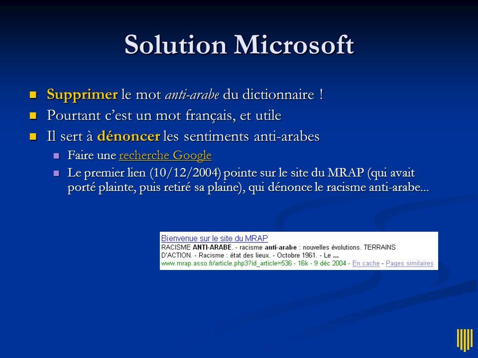 Solution Microsoft Supprimer le mot anti-arabe du dictionnaire !