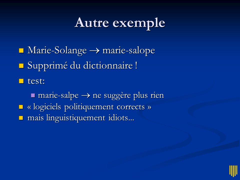 Autre exemple Marie-Solange  marie-salope Supprimé du dictionnaire !