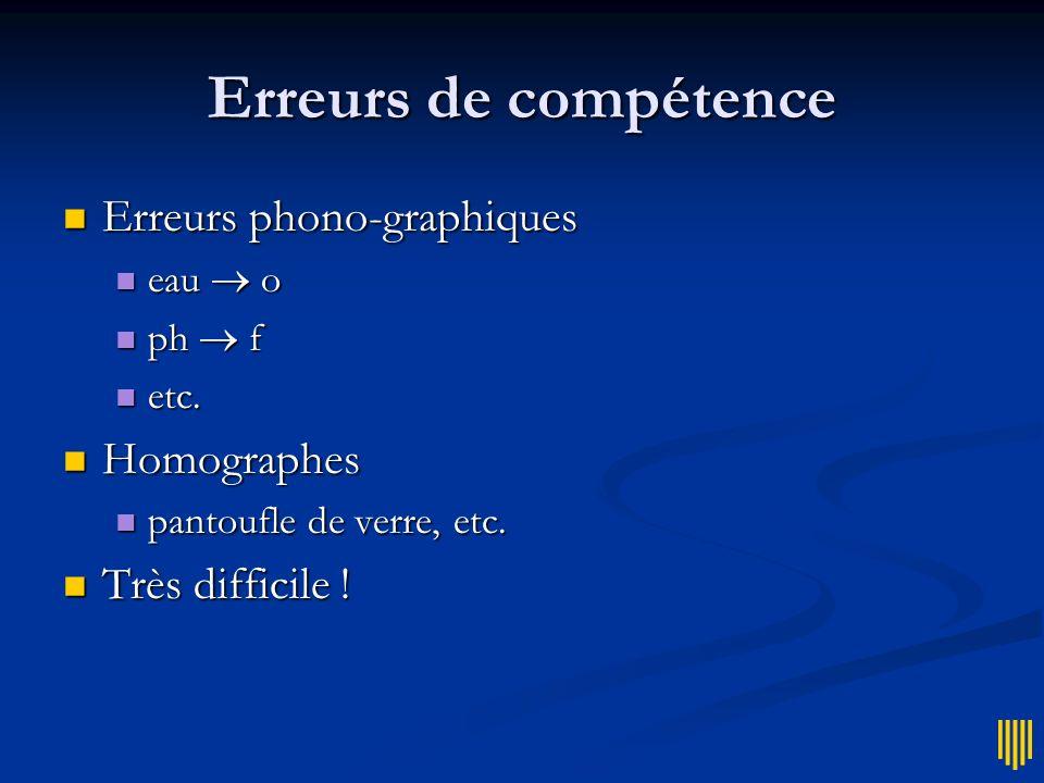 Erreurs de compétence Erreurs phono-graphiques Homographes