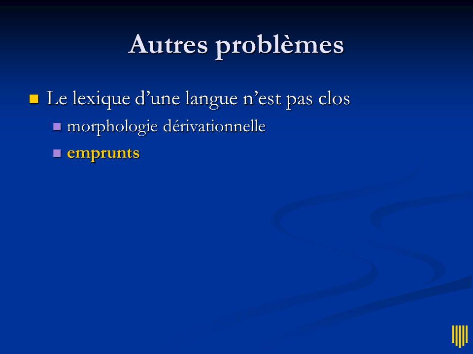 Autres problèmes Le lexique d'une langue n'est pas clos
