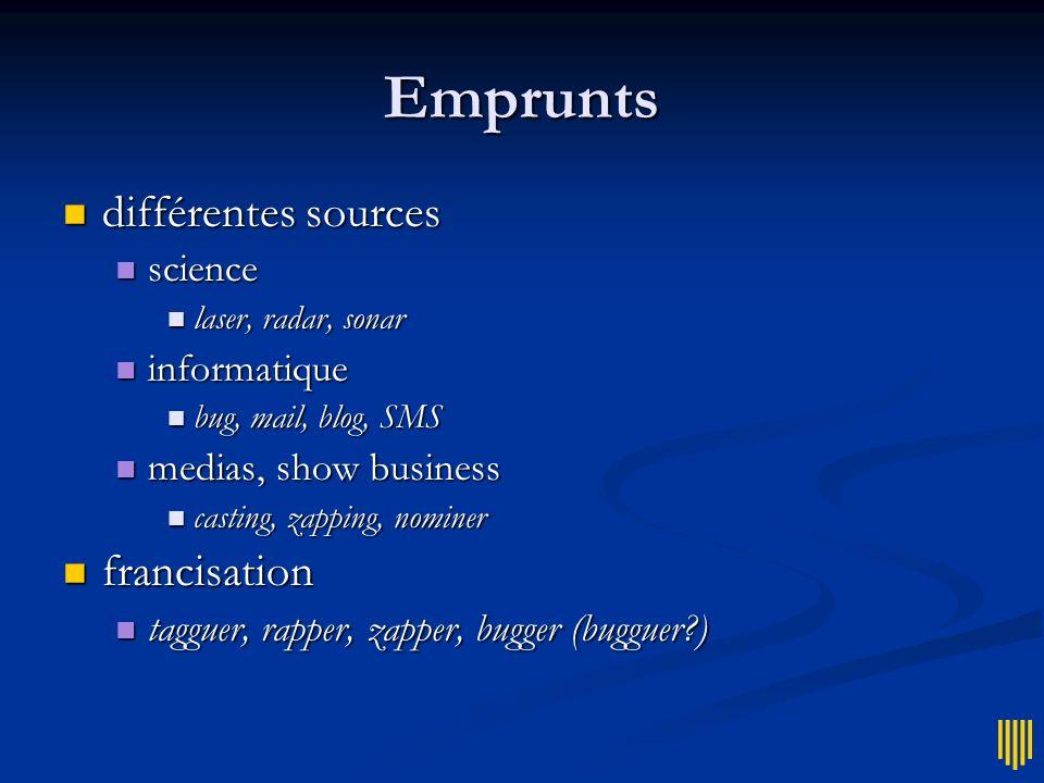 Emprunts différentes sources francisation science informatique