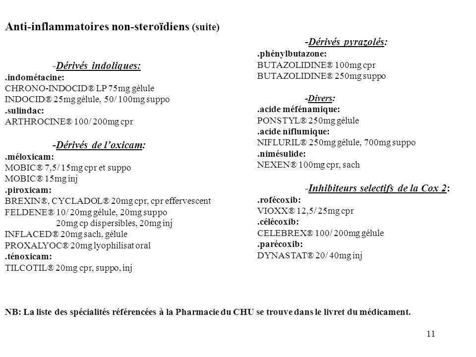 Anti-inflammatoires non-steroïdiens (suite)