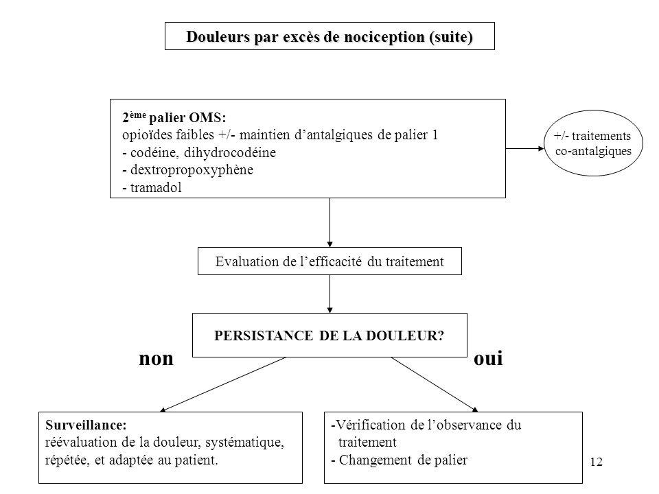 Douleurs par excès de nociception (suite) PERSISTANCE DE LA DOULEUR