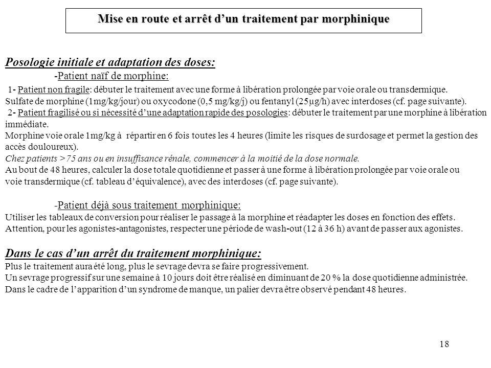 Mise en route et arrêt d'un traitement par morphinique