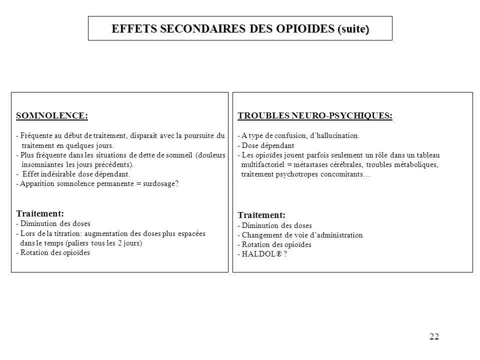 EFFETS SECONDAIRES DES OPIOIDES (suite)