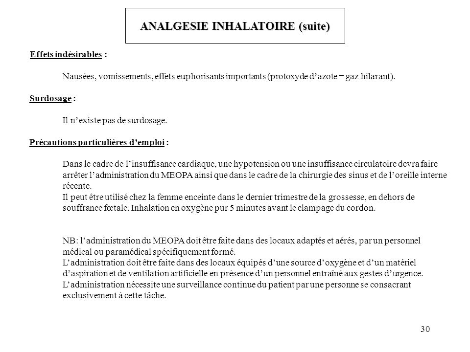 ANALGESIE INHALATOIRE (suite)