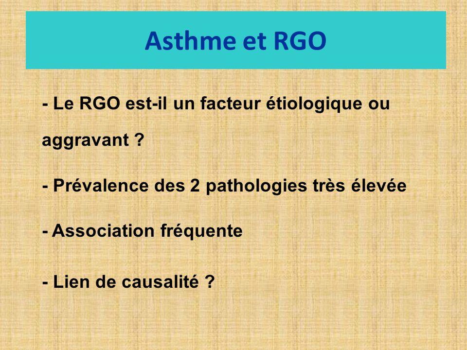 Asthme et RGO - Le RGO est-il un facteur étiologique ou aggravant