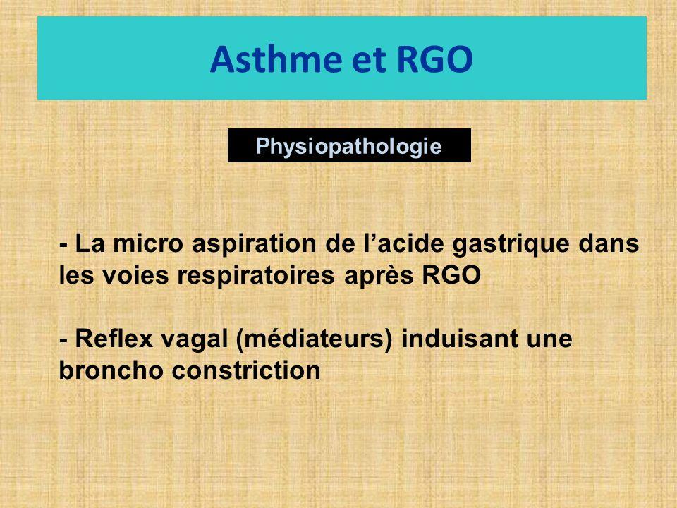 Asthme et RGO Physiopathologie. - La micro aspiration de l'acide gastrique dans les voies respiratoires après RGO.