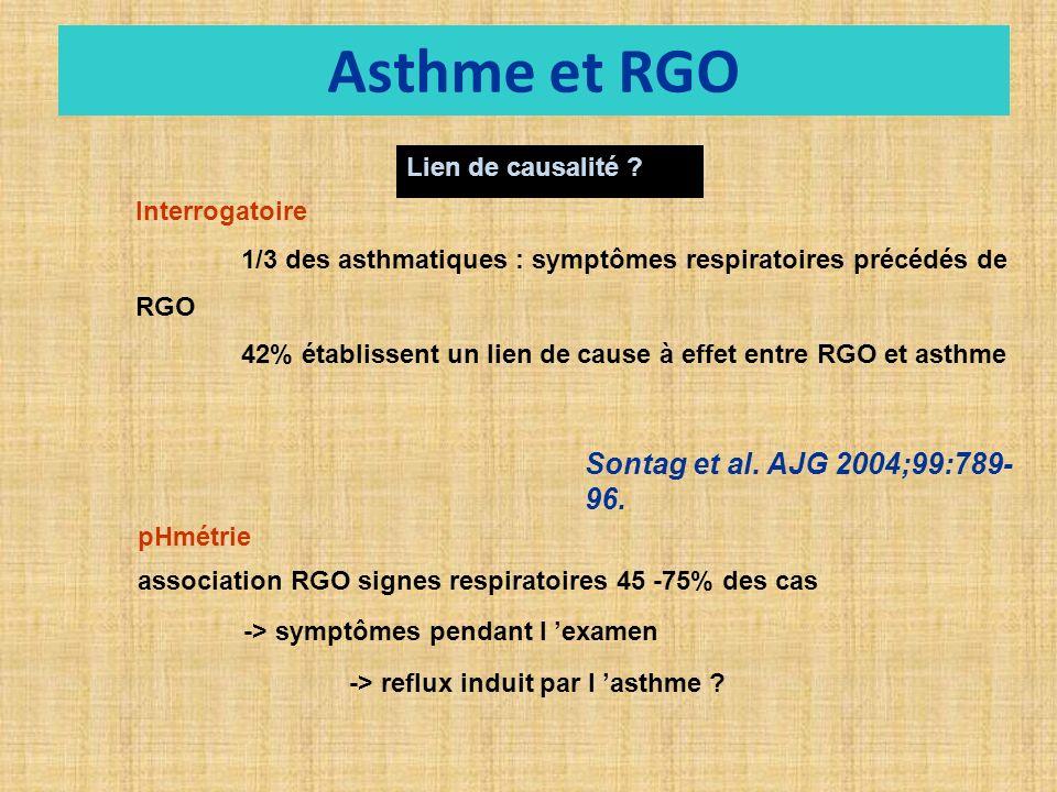 Asthme et RGO Sontag et al. AJG 2004;99:789-96. Lien de causalité
