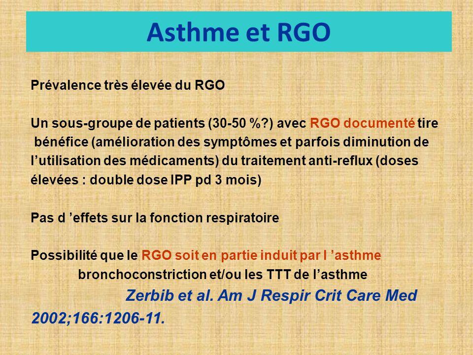 Asthme et RGO Prévalence très élevée du RGO