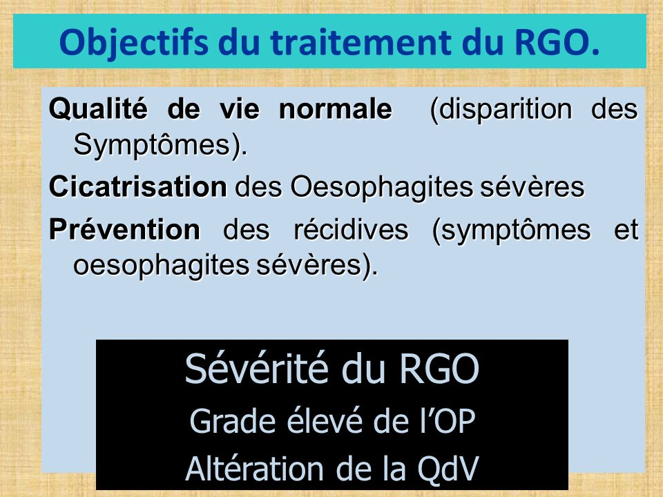 Objectifs du traitement du RGO.