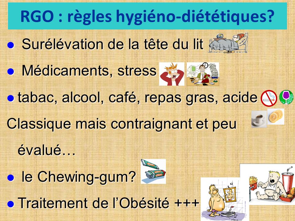 RGO : règles hygiéno-diététiques
