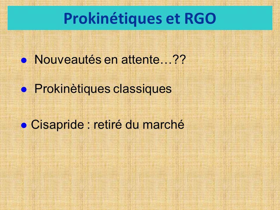Prokinétiques et RGO Nouveautés en attente… Prokinètiques classiques