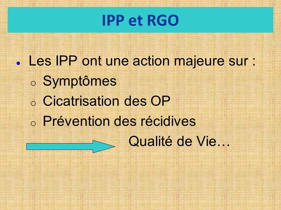 IPP et RGO Symptômes Cicatrisation des OP Prévention des récidives