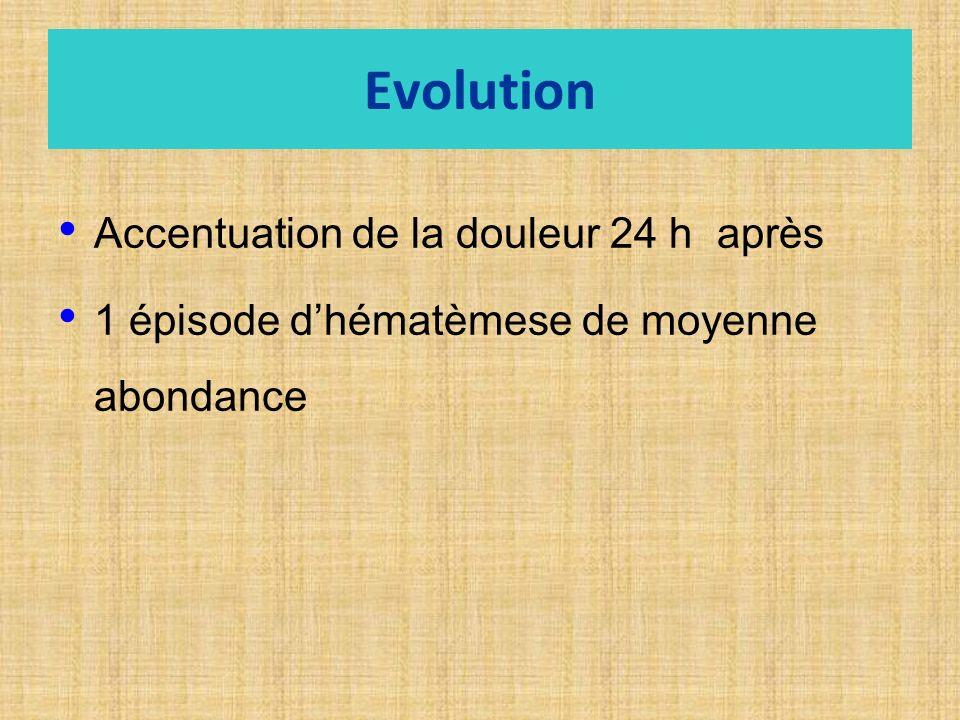 Evolution Accentuation de la douleur 24 h après