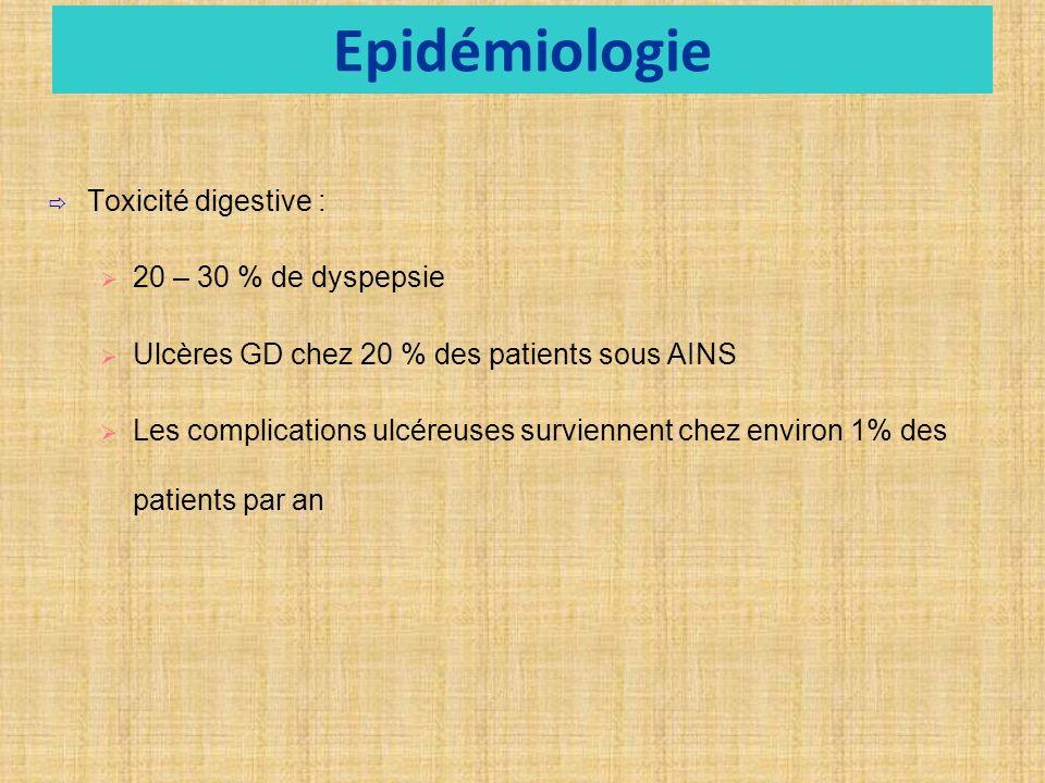 Epidémiologie Toxicité digestive : 20 – 30 % de dyspepsie