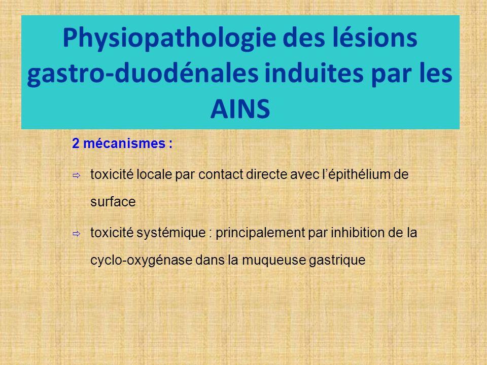 Physiopathologie des lésions gastro-duodénales induites par les AINS