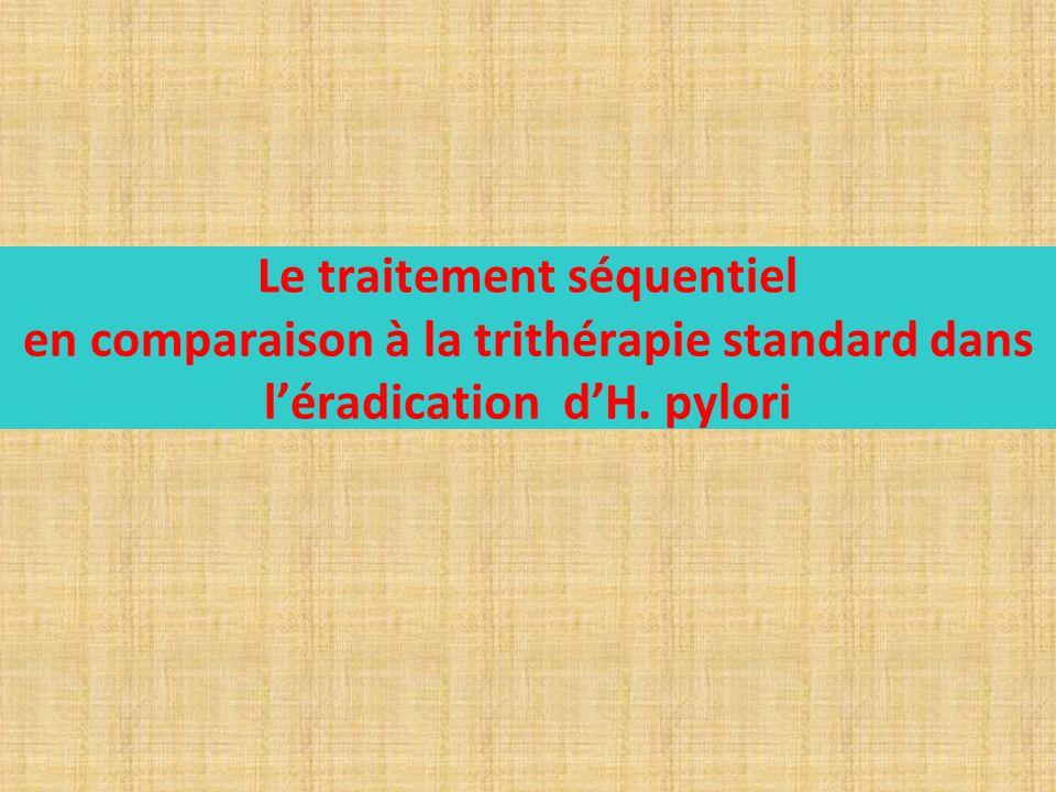 Le traitement séquentiel en comparaison à la trithérapie standard dans l'éradication d'H. pylori