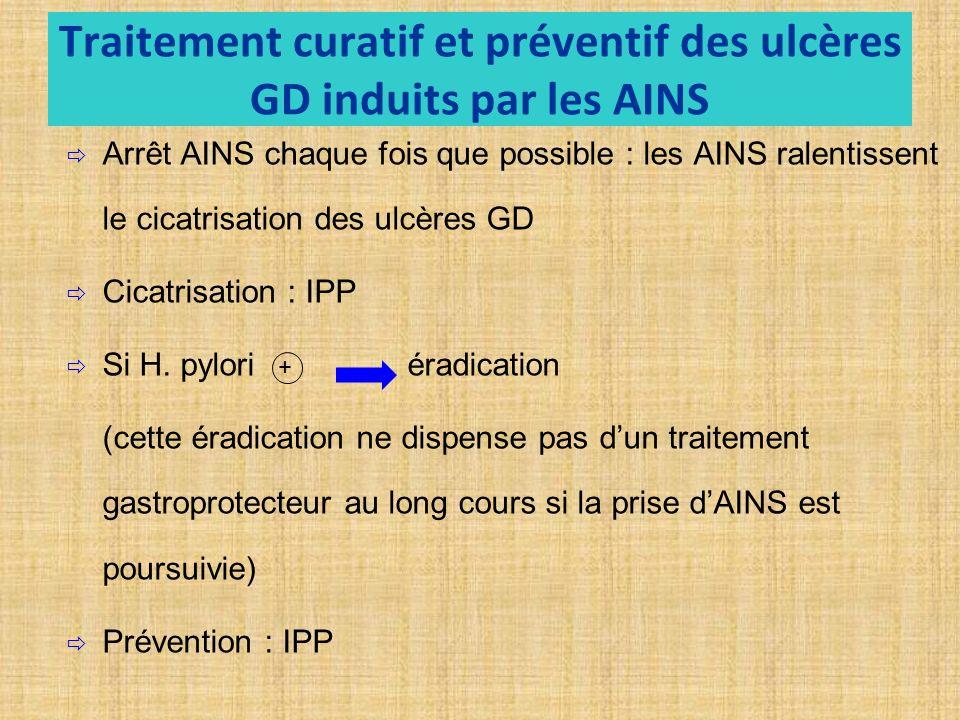 Traitement curatif et préventif des ulcères GD induits par les AINS