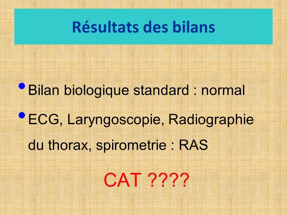 Résultats des bilans Bilan biologique standard : normal