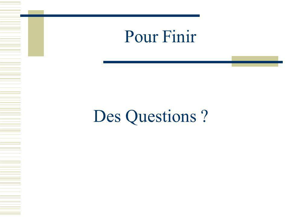 Pour Finir Des Questions