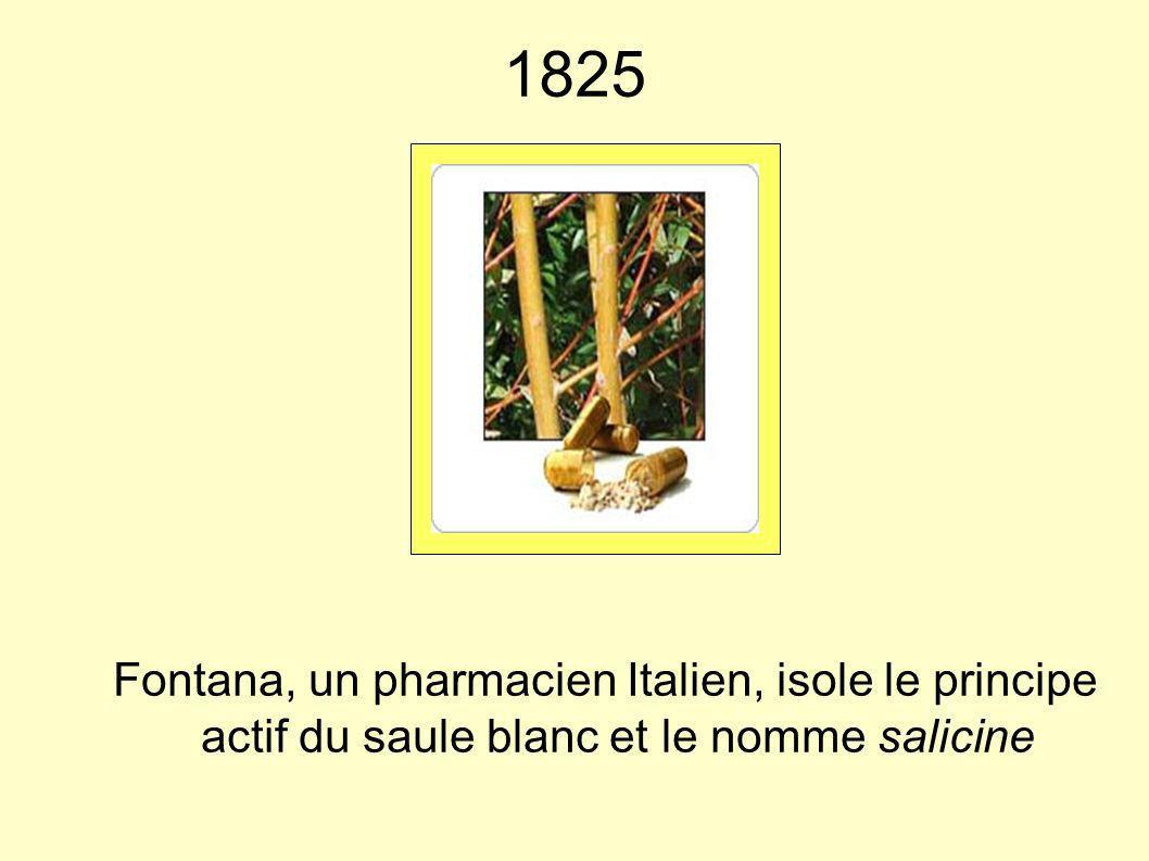 1825 Fontana, un pharmacien Italien, isole le principe actif du saule blanc et le nomme salicine