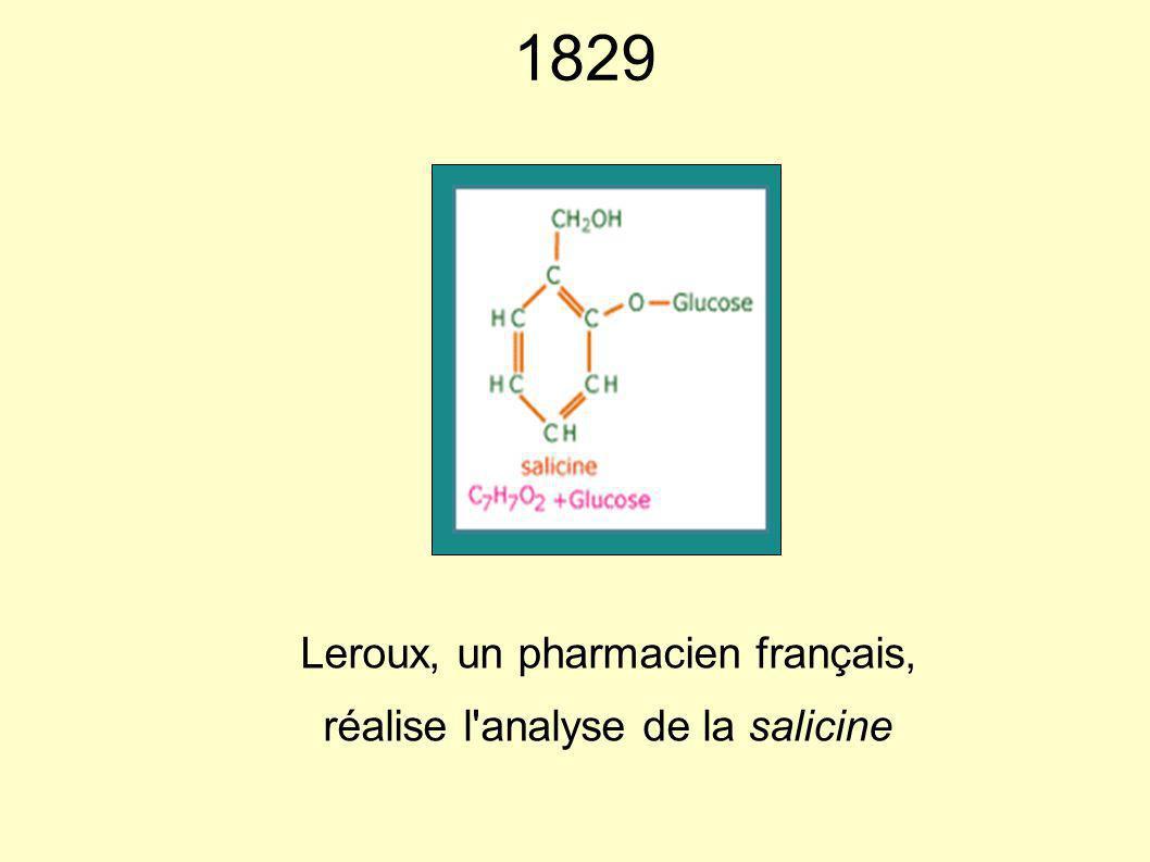 Leroux, un pharmacien français, réalise l analyse de la salicine