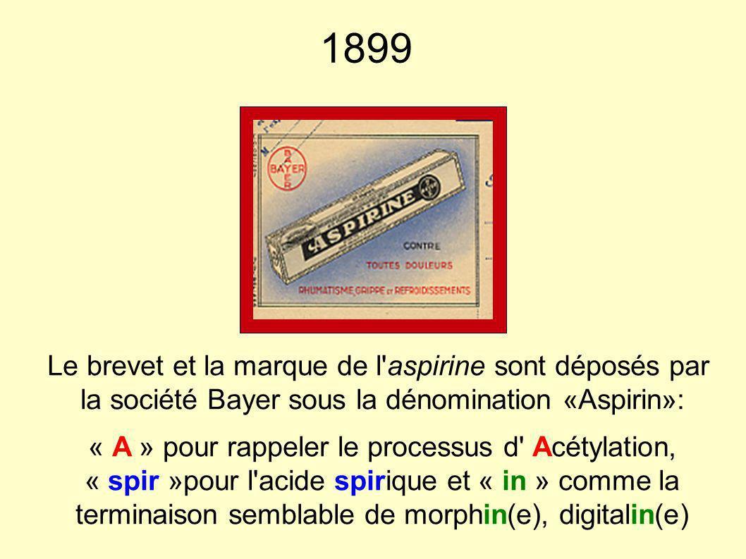 1899 Le brevet et la marque de l aspirine sont déposés par la société Bayer sous la dénomination «Aspirin»: