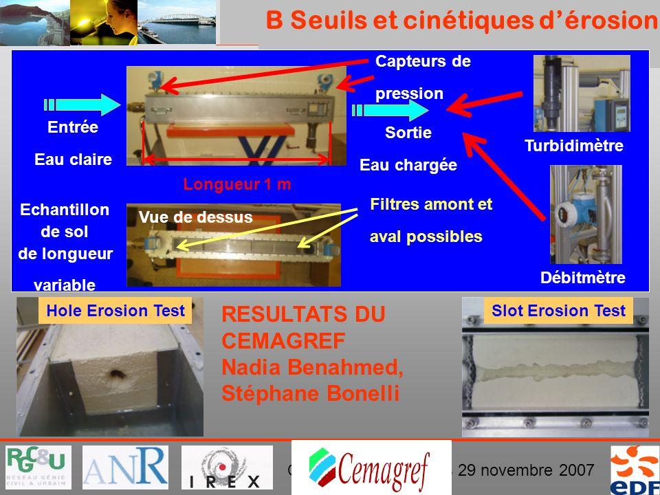 B Seuils et cinétiques d'érosion