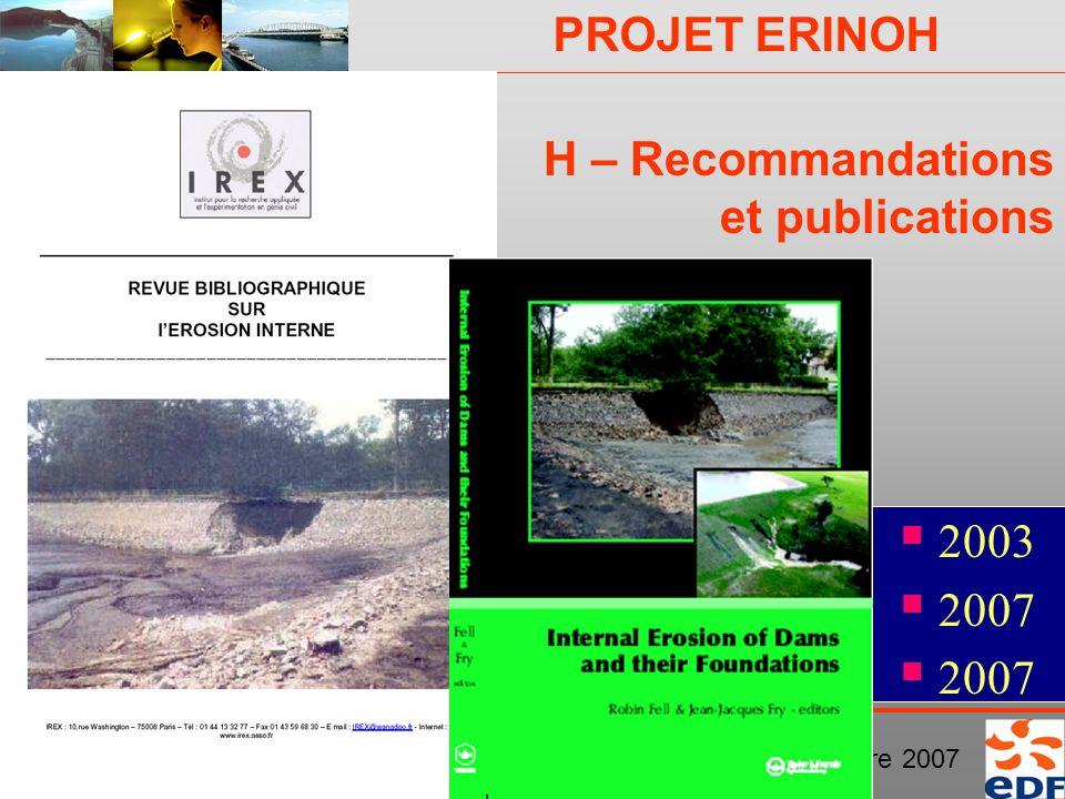 H – Recommandations et publications
