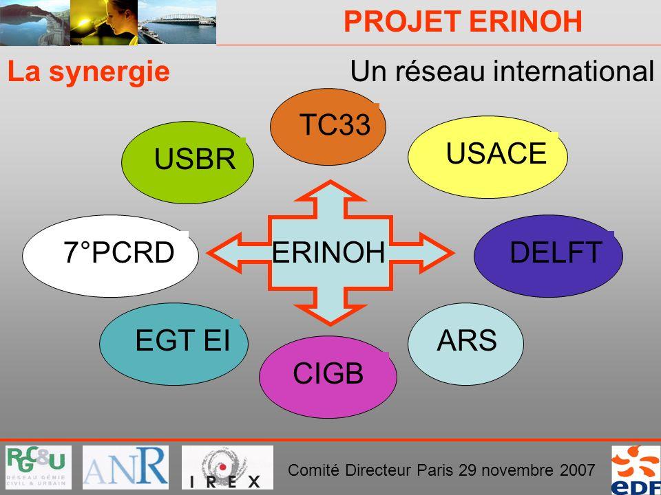 La synergie Un réseau international TC33 USACE USBR ERINOH 7°PCRD DELFT EGT EI ARS CIGB