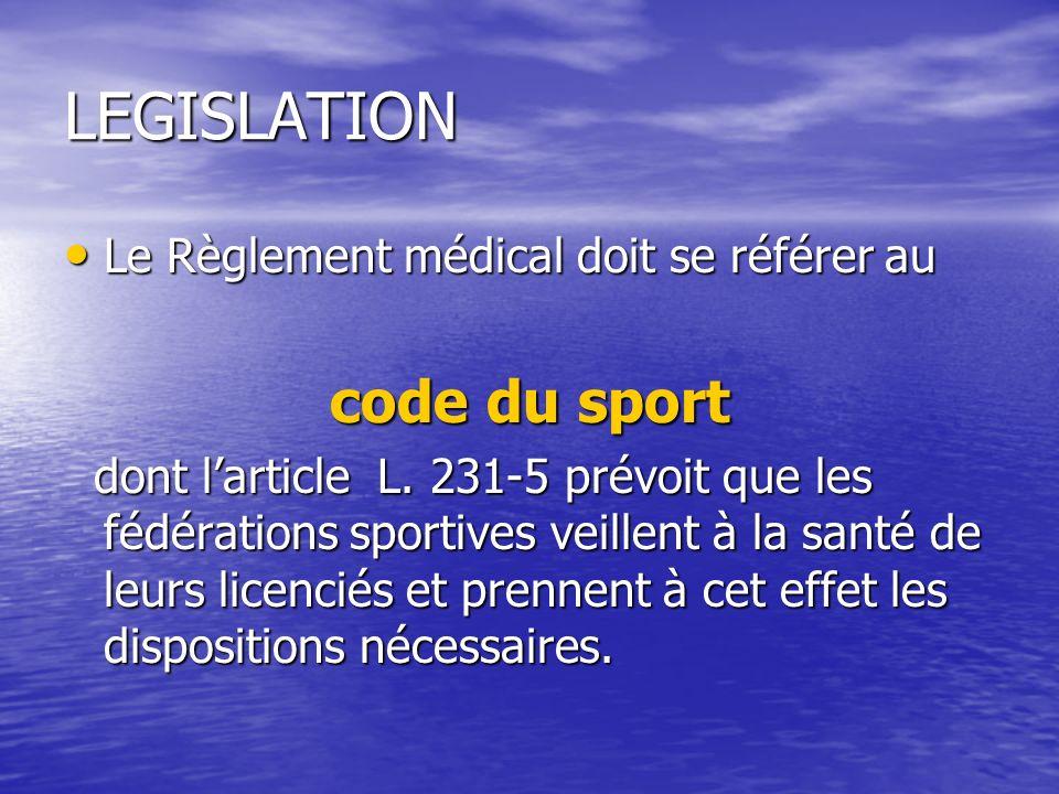 LEGISLATION code du sport Le Règlement médical doit se référer au